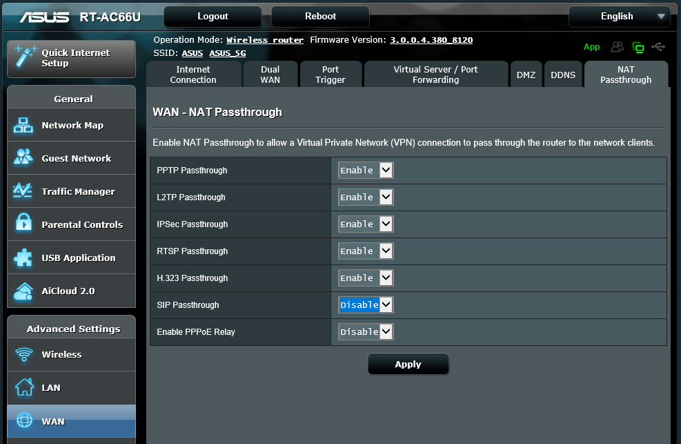 ASUS RT-AC66U — FusionPBX Docs documentation