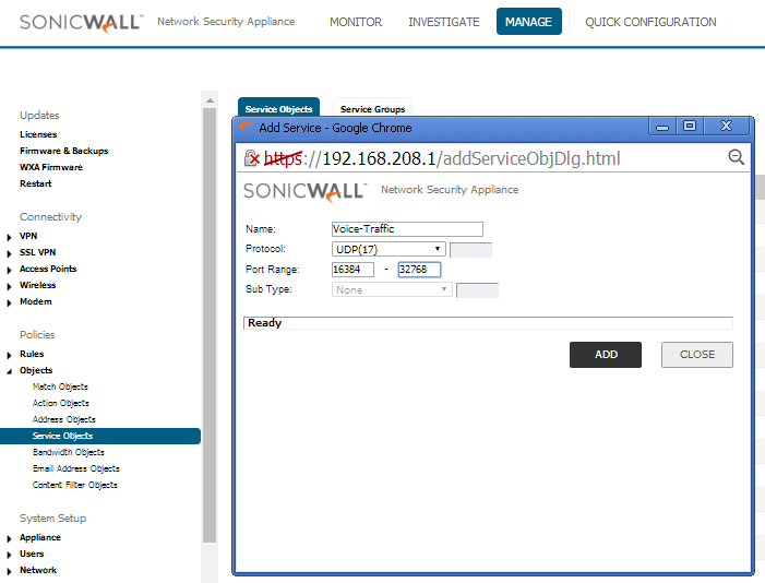 SonicWall TZ-SOHO — FusionPBX Docs documentation